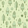 Forest trees seamless pattern. Hand drawn background with pines, grass, bushes and mushrooms in doodle style. Botanic desig
