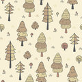 Forest trees seamless vector pattern. Botanic design texture in colors of brown and beige