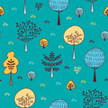 Forest trees seamless vector pattern. Botanic design texture in colors of blue and yellow