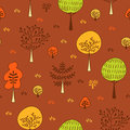 Forest trees seamless vector pattern. Botanic design texture in colors of brown, green and orange