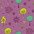 Forest trees seamless pattern. Hand drawn background with plants, grass and bushes in doodle style. Botanic design texture
