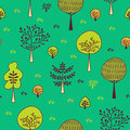 Forest trees seamless pattern. Hand drawn background with plants, grass, bushes and mushrooms in doodle style. Botanic desi