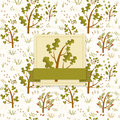 Forest trees vintage template card with seamless pattern with a tree and green ribbon Royalty Free Stock Photos