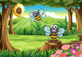 A forest with two bees near the beehive illustration of Royalty Free Stock Images