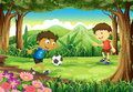 A forest with two boys playing soccer illustration of Royalty Free Stock Image