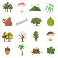 Forest 16 vector icons set in cartoon style.