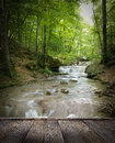 Forest waterfall and rocks covered with moss and wood pier Royalty Free Stock Image