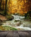 Forest waterfall and rocks covered with moss and wood pier Stock Photos