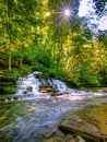 Forest waterfall site of the shaker fulling mill at pleasant hill kentucky Royalty Free Stock Images