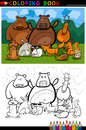 Forest wild animals cartoon for coloring book Royalty Free Stock Photo