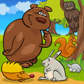 Forest wild animals cartoon group Royalty Free Stock Photo