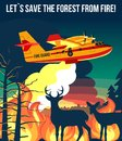 Forest wildfire with fire amphibian aircraft & deer with fawn looking on wildfire illustration poster or banner