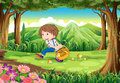 A forest with a young boy picking mushrooms illustration of Royalty Free Stock Photography