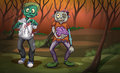 A forest with zombies illustration of Stock Photography
