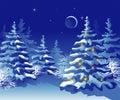 Foresta di natale di inverno alla notte Immagine Stock
