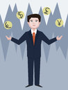 Forex dealer juggling with currency cartoon Royalty Free Stock Photo