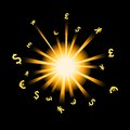 Forex explosion vector picture of and money signs Royalty Free Stock Photo