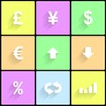 Forex icons set of for trading theme vector eps illustration Royalty Free Stock Images