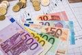 Forex market black candlesticks with euro bills Royalty Free Stock Photo