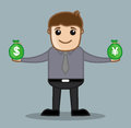 Forex office and business people cartoon character vector illustration concept drawing art of young businessman holding presenting Stock Photo