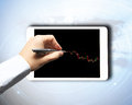 Forex trading background concept with hand and screen Stock Image