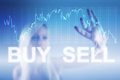 Forex trading concept background in blue Stock Images