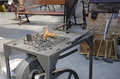 The forge of blacksmith during traditional crafts demonstration Royalty Free Stock Images