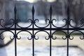 Forged fence black lattice gate Stock Images