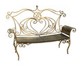 Forged park bench with ornate pattern isolated on white backgrou iron in shape of heart background clipping path Stock Images