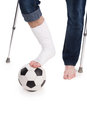 Forget about footbal man cannot play football anymore because of brocken leg Stock Images