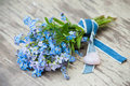 Forget me not and cuckoo flowers with heart Royalty Free Stock Photos