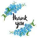 Forget me not flower thank you card Royalty Free Stock Photo
