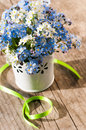 Forget me not flowers on wooden background Royalty Free Stock Photos