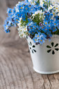 Forget me not flowers on wooden background Stock Photo