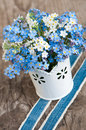 Forget me not flowers on wooden background Royalty Free Stock Image