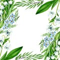 Forget me nots and lily of the valley flowers. Watercolor background illustration set. Frame border ornament square.