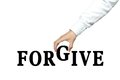 Forgive businessman is holding the text of on white background Stock Images