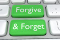 Forgive and forget concept render illustration of computer keyboard with the print on two adjacent green buttons Royalty Free Stock Photos