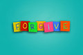Forgive the word written on sticky colored paper Royalty Free Stock Photos