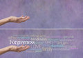 Forgiveness word cloud banner female hand outstretched with palm up and the hovering above surrounded by a relevant on a lilac Stock Photo