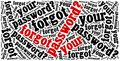 Forgot password phrase related to internet website word cloud illustration Royalty Free Stock Images