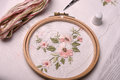 Forgotten craft embroidery. The cloth, thread, needle, thimble, scissors Royalty Free Stock Photo