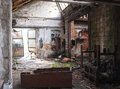 Forgotten places view with sun rays in old abandoned factory Royalty Free Stock Photography