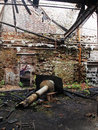 Forgotten places view with sun rays in old abandoned factory Stock Photo