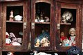 Forgotten toys old outdoor on shelves Stock Photos