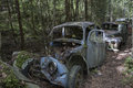 Forgotten vehicles cars in the forest Stock Images