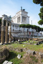 Fori and altare della patria view over the romani the back of the in rome Royalty Free Stock Photo