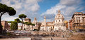 Fori Imperiali panoramic of Colonna Trajana St Maria di Loreto a Royalty Free Stock Photography