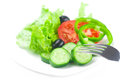 Fork black olive lettuce tomato cucumber and pepper in a bowl Royalty Free Stock Photos