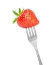 Fork with fresh strawberry isolated on white Royalty Free Stock Images